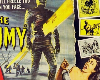 The Mummy 1950s Sci Fi Horror Movie Poster Full Color Film Advertisement Lithograph To Frame Science Fiction