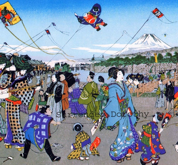 Japanese Children Fly Kites Poster Eighteenth Century Woodcut Color ...