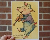 5 x7 Watercolor Painting Tattoo Flash - Fiddle Playing Piggy