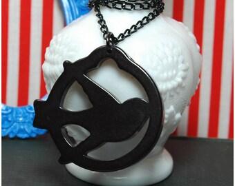 Homeward Bound - Chunky Swallow Necklace - Tattoo Sailor Inspired Vintage Retro Black Bird Sparrow - Rockabilly Punk