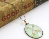 Double Arrows Drawing Inside a Glass Bubble Charm Necklace