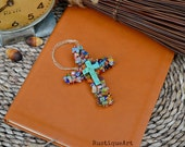 Beaded Wire Cross Ornament Multi Colored Millefiori Bead Chips Turqouise Cross Bead Focal