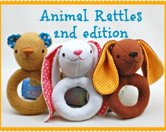 Animal Rattles 2nd Edition PDF Sewing Pattern - Easy, Quick Sew Gift for Babies