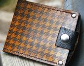 Men's Billfold Leather Wallet - Slim Jim Money Clip Wallet - Houndstooth