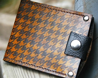 Men's Brown Leather Snap Wallet Minimalist Money Clip Billfold with Houndstooth Print
