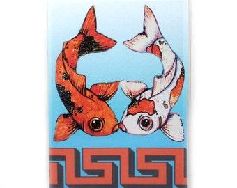 Passport Cover - Kissing Koi fish passport holder - orange and blue goldfish - travel accessories