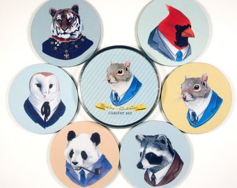 Animals in Suits Berkley Illustration coaster set officially Licensed 6 six coasters in matching tin Gifts Under 20 hipster dapper clothes