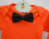 SALE 12 - 18 Mo. Bow Tie Organic Cotton Long Sleeve Bodysuit