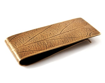 Mens Money Clip, Bronze with Leaf Pattern