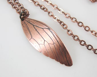 Copper Cicada Wing, Preserved Nature Necklace, Ready to ship
