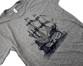 Mens Pirate Ship T-Shirt - Nautical Boat American Apparel American Apparel Shirt - (Available in sizes S, M, L, XL)