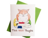 Cat Christmas Card, Think Warm Thoughts, Cat on a Blanket, kitty Christmas, cute cat card, winter greeting card, cat holiday card