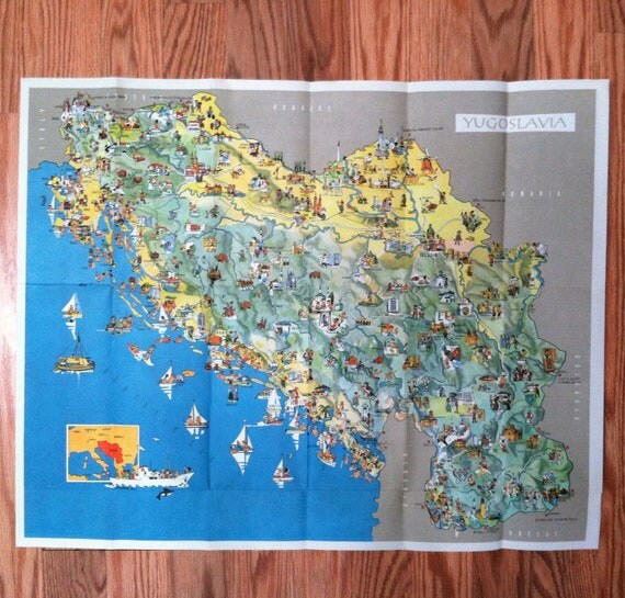 Vintage YUGOSLAVIA TOURIST MAP From 1963 / Free Shipping to the United States