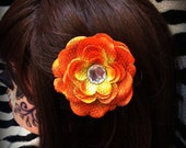 Orange Flower Hair Clip with Black Mesh and Bling Center