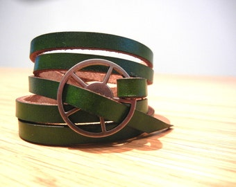 Leather Wrap Bracelet in Deep Green leather with Large Silver buckle