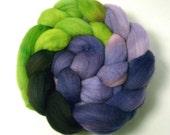 Handdyed Merino Wool Roving - Spooky - black, purple, green