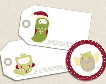 Little Owls at Christmas - Printable PDF Gift Tags