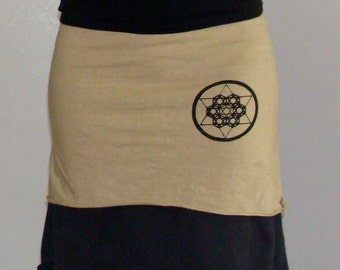 Hemp and Organic cotton Skirt  with Sacred geometry print - Custom made for you  great for layering