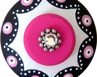 Black and White Knobs Hot Pink Knobs Painted Knobs Wood Knobs Dresser Knobs Decorative Knobs Kids Knobs Colorful Knobs Drawer Pulls