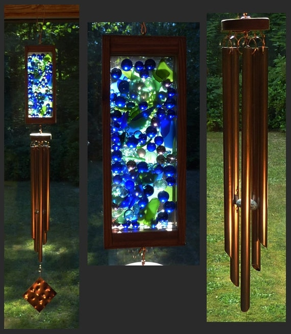 Wind Chime, Beach Glass, Marbles, Stained Glass, Windchimes, Wind Chimes, Suncatcher, Copper