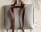 felt and leather briefcase rucksack