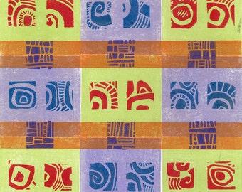 LINOCUT RELIEF  PRINT - Mint Violet Carpet - Wall Art Wall Decor - Monoprint