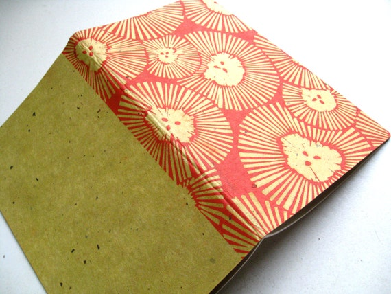 BLANK MOLESKINE JOURNAL  -Hand Printed Chrysanthemum Cover - Stationery