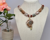 Ammonite Necklace Fossil Yellow Orange Autumn Jasper Bold Statemnt Piece