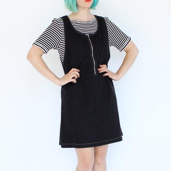 vintage 90's goth sailor ZIPPER STRIPE short sleeve jumper dress