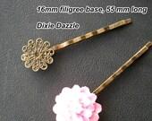 10 pcs Vintage Style antiqued brass bronze filigree hair pins, 55 mm long, 15 mm glue pad base, Bobby Pins, Bobbi pin