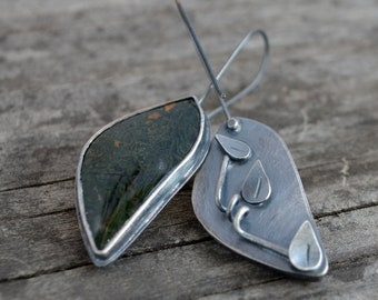 creeping vine earrings - moss agate and sterling silver