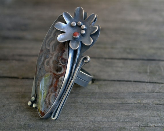 bloom cocktail ring - sterling silver and mushroom jasper