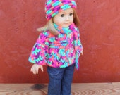 American Girl DOLL SWEATER HAT set in brights