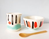 Pottery creamer and bowl - modern ceramic handmade - mint teal red black white set with bamboo spoon