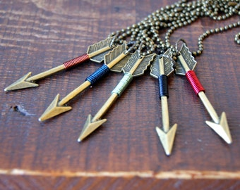 Bronze Arrow Necklace - Arrow Necklace - wire wrapped arrow - Arrow Jewelry - Sagittarius - bohemian jewelry - boho chic