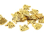 50 pcs Gold Hand Made Charms Tags - hand shape