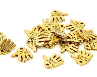 50 pcs Gold Hand Made Charms Tags - hand shape