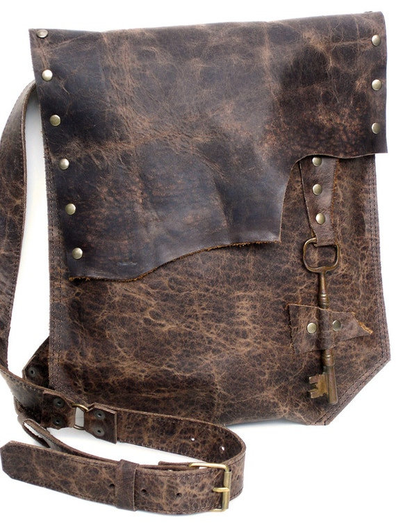 Distressed Leather Messenger Bag with Big Antique Key - Lg Desert Rose in Antique Mocha Brown - READY TO SHIP