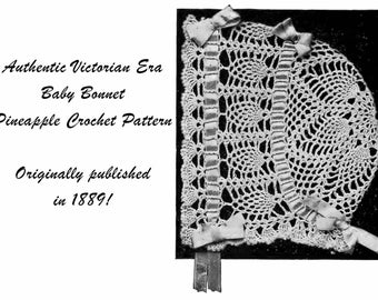 1889 Victorian Baby Bonnet Irish Pineapple Strawberry Crochet Pattern DIY Baptism Gifts