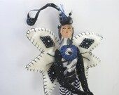 Doll, Fiber Art Doll. OOAK Fairy Doll, Black and White Fairy, Wall hanging Doll