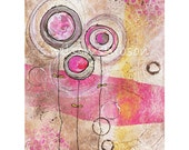 2 grey, 1 pink flower (reproduction print) collage painting