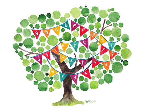 Alphabet Tree Original Watercolour Art Print Reproduction Nursery School Wall Art