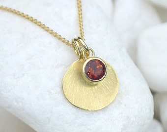 Fire Citrine Necklace with 18k Gold Flower Petal