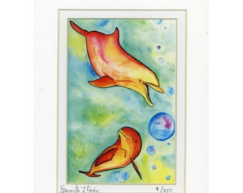 Fun and Funky Orange and Green Dolphins in water with bubbles print