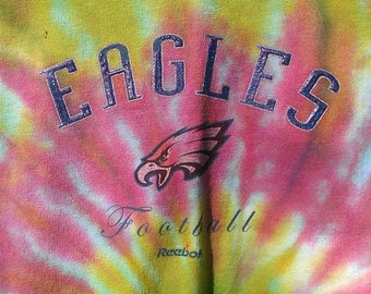 Philadelphia Eagles Hand Tie Dyed Tshirt Reebok Brand Upcycled