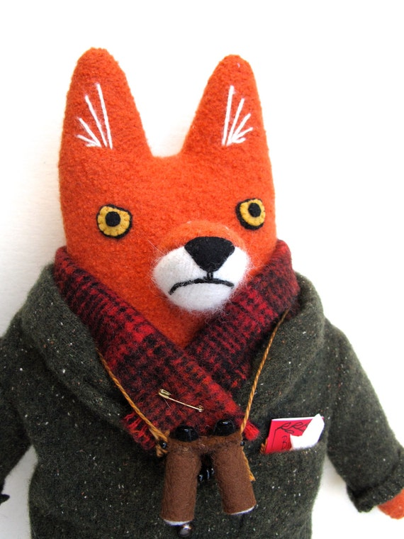 Birdwatcher Fox wool doll