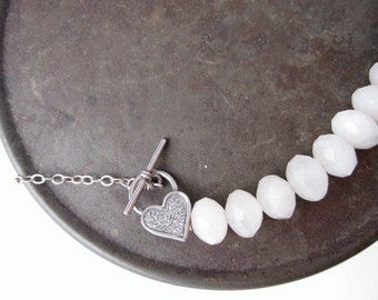 Rose Quartz Necklace, Heart Clasp Necklace, Heart Necklace, Pink Necklace