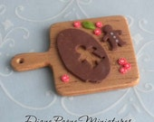 Making Gingerbread Man Cookies on old cutting board with Candies - handmade dollhouse miniature