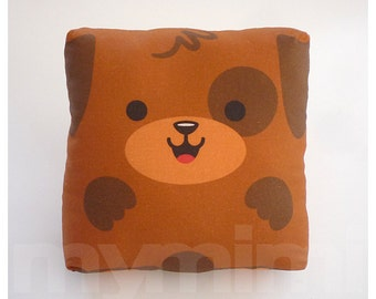 Toy Puppy, Brown Pillow, Stuffed Animal, Throw Pillow, Cushion, Kawaii, Baby Shower, Nursery, Kids Room Decor, Dorm, 7 x 7""