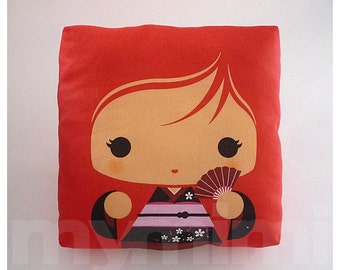 "Kawaii Girl, Girls Pillow, Geisha Pillow, Red Pillow, Japanese Kokeshi Doll, Kawaii Print, Throw Pillow, Girls Room Decor, Dorm, 7 x 7"""